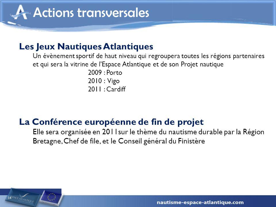 14 Actions transversales La Conférence européenne de fin de projet Elle sera organisée en 2011sur le thème du nautisme durable par la Région Bretagne,