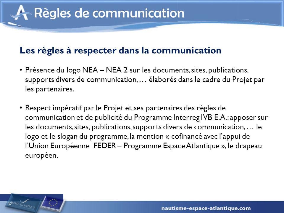 15 Règles de communication Les règles à respecter dans la communication Présence du logo NEA – NEA 2 sur les documents, sites, publications, supports