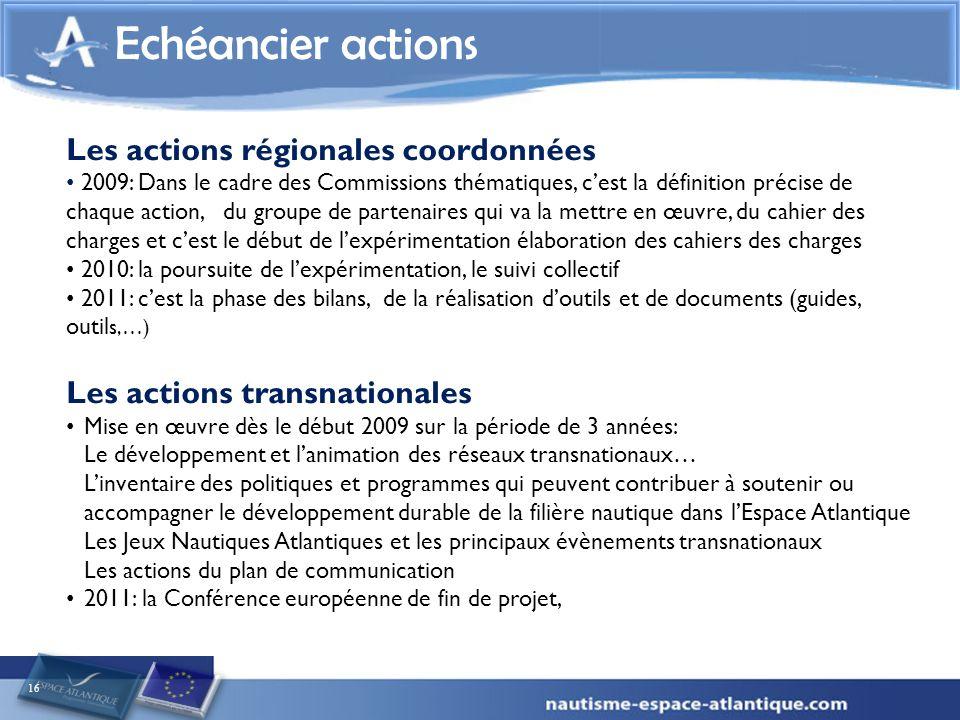 16 Echéancier actions Les actions régionales coordonnées 2009: Dans le cadre des Commissions thématiques, cest la définition précise de chaque action,