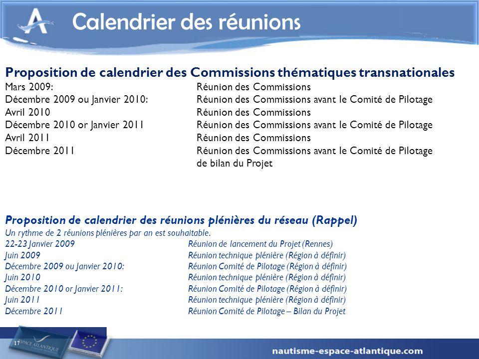 17 Calendrier des réunions Proposition de calendrier des réunions plénières du réseau (Rappel) Un rythme de 2 réunions plénières par an est souhaitabl