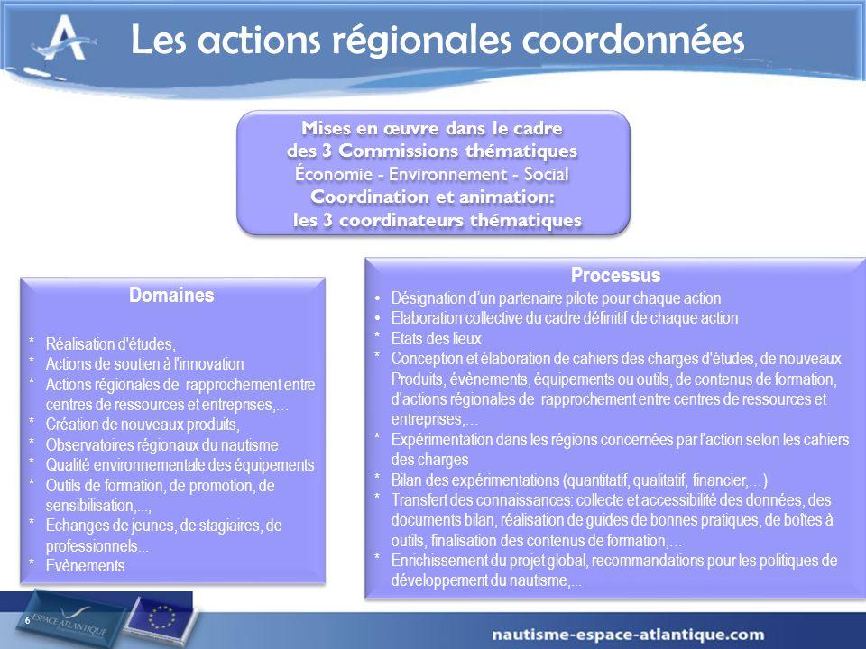 6 Les actions régionales coordonnées Mises en œuvre dans le cadre des 3 Commissions thématiques Économie - Environnement - Social Coordination et anim