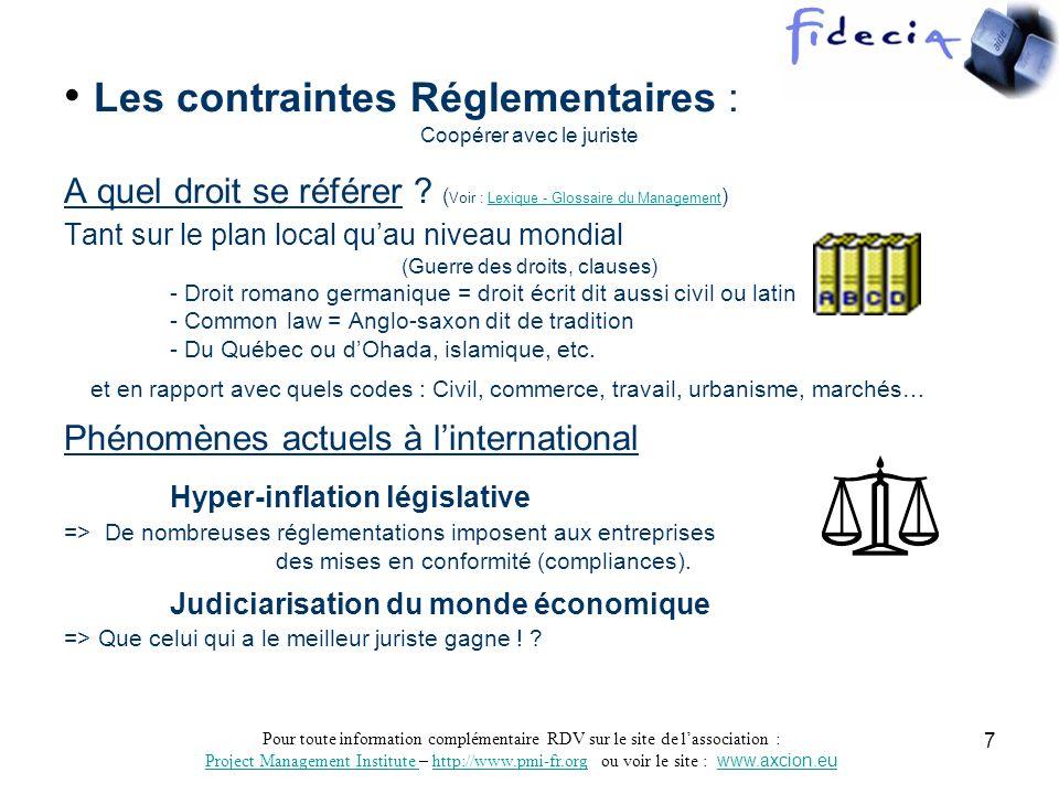 Pour toute information complémentaire RDV sur le site de lassociation : Project Management Institute Project Management Institute – http://www.pmi-fr.org ou voir le site : www.axcion.euhttp://www.pmi-fr.orgwww.axcion.eu 8 Dispositions réglementaires récentes : - Elles imposent des contraintes légales à toutes les entreprises : ex : LSF/SOX, LCEN, NRE, IFRS, - Elles ont révolutionné le contrôle de gestion : ex : Coso - Elles nécessitent la mise en place de nouveaux concept de management ex : Gouvernance dentreprise, GGP (CPM), BPM, Développement durable … ------------------------ -LSF & SOX : (Suite notamment aux affaires de type ENRON) Objectifs : Assainir les pratiques financières, favoriser la transparence et l uniformisation des règles de gestion, instaurer la responsabilité directe des dirigeants (Civile et pénale).