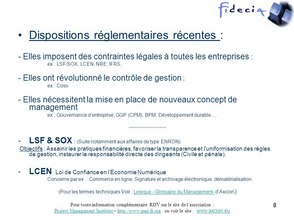 Pour toute information complémentaire RDV sur le site de lassociation : Project Management Institute Project Management Institute – http://www.pmi-fr.org ou voir le site : www.axcion.euhttp://www.pmi-fr.orgwww.axcion.eu 9 Dispositions réglementaires récentes (Suite) NRE : Nouvelles régulations économiques Exemples type dexigences à fortes influence sur les contrats : -Rémunérations et avantages en nature des mandataires sociaux, liste des mandats -RSE : Responsabilité sociétale et environnementale dont : - Informations relatives à lemploi : Effectifs, CHSCT, formation, Sous- traitance => impact territorial et développement régional.