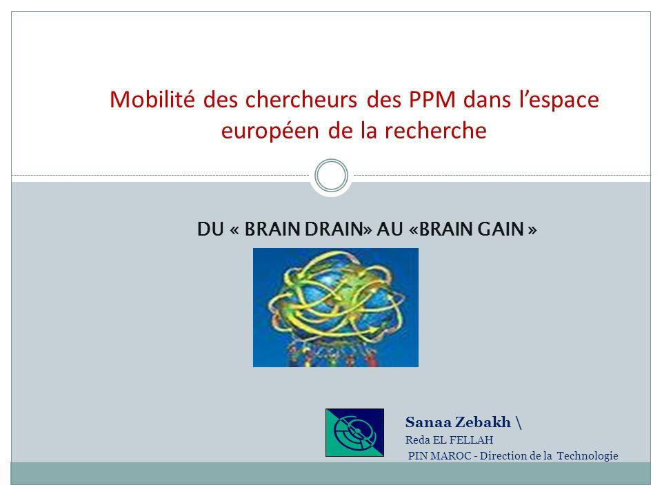 Mobilité des chercheurs des PPM dans lespace européen de la recherche DU « BRAIN DRAIN» AU «BRAIN GAIN » Sanaa Zebakh \ Reda EL FELLAH PIN MAROC - Dir