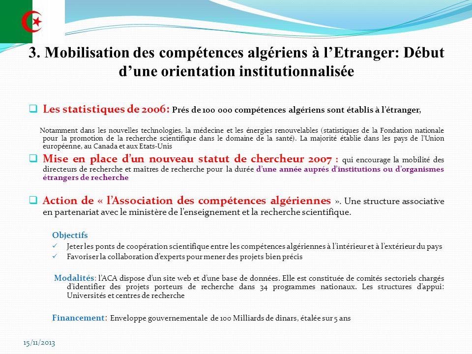 3. Mobilisation des compétences algériens à lEtranger: Début dune orientation institutionnalisée Les statistiques de 2006: Prés de 100 000 compétences