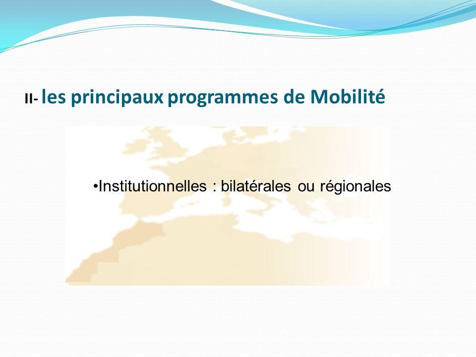 II- les principaux programmes de Mobilité Institutionnelles : bilatérales ou régionales