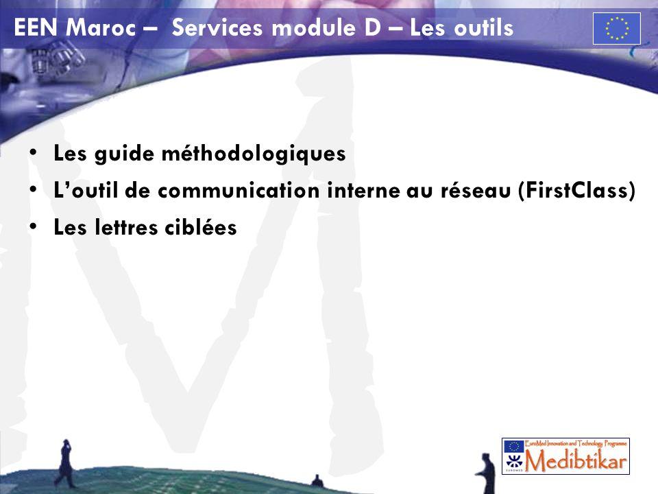M Proposition EEN Maroc – Services module D Les activités identifiées par lEEN Maroc pour le module D D1.Coopération et coordination D2.