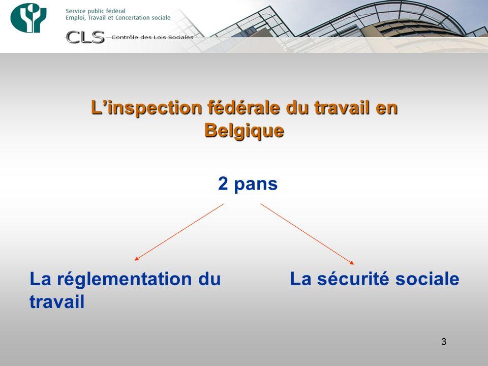 3 Linspection fédérale du travail en Belgique 2 pans La réglementation du travail La sécurité sociale