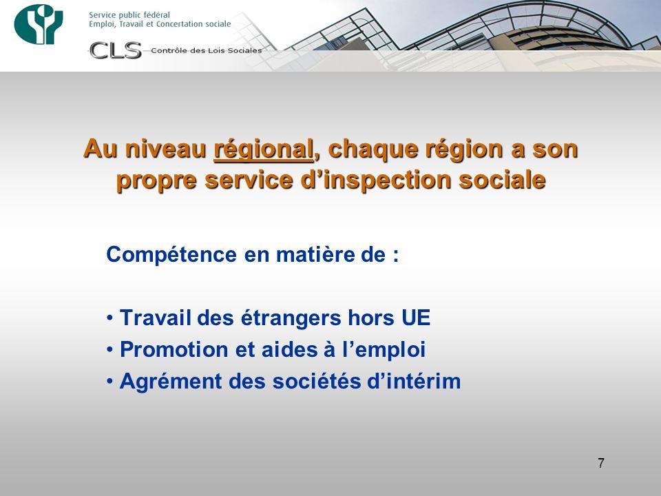 7 Au niveau régional, chaque région a son propre service dinspection sociale Compétence en matière de : Travail des étrangers hors UE Promotion et aides à lemploi Agrément des sociétés dintérim