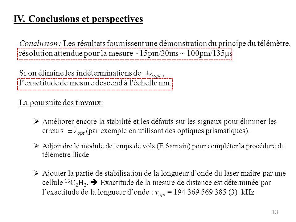 13 IV. Conclusions et perspectives Conclusion : Les résultats fournissent une démonstration du principe du télémètre, résolution attendue pour la mesu
