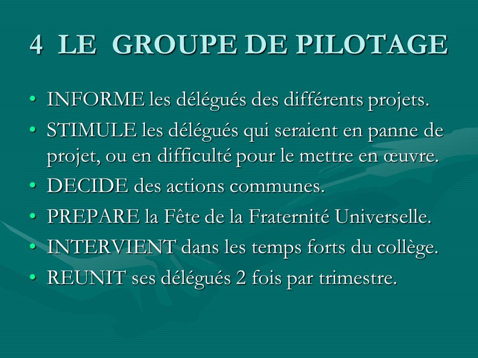 4 LE GROUPE DE PILOTAGE INFORME les délégués des différents projets.INFORME les délégués des différents projets.