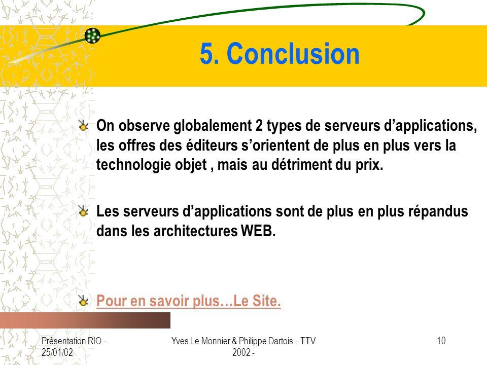 Présentation RIO - 25/01/02 Yves Le Monnier & Philippe Dartois - TTV 2002 - 10 5. Conclusion On observe globalement 2 types de serveurs dapplications,