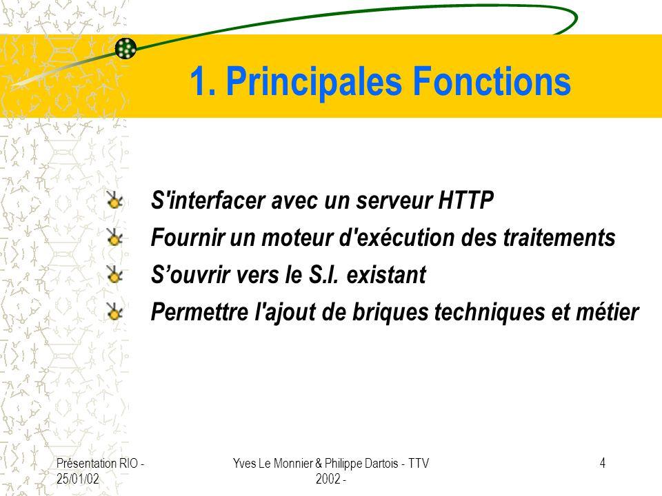 Présentation RIO - 25/01/02 Yves Le Monnier & Philippe Dartois - TTV 2002 - 4 1. Principales Fonctions S'interfacer avec un serveur HTTP Fournir un mo