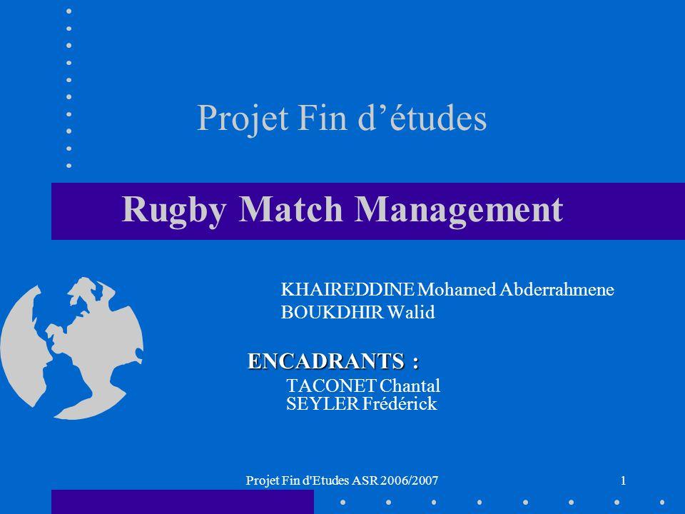 Projet Fin d Etudes ASR 2006/20071 Projet Fin détudes Rugby Match Management KHAIREDDINE Mohamed Abderrahmene BOUKDHIR Walid ENCADRANTS : TACONET Chantal SEYLER Frédérick