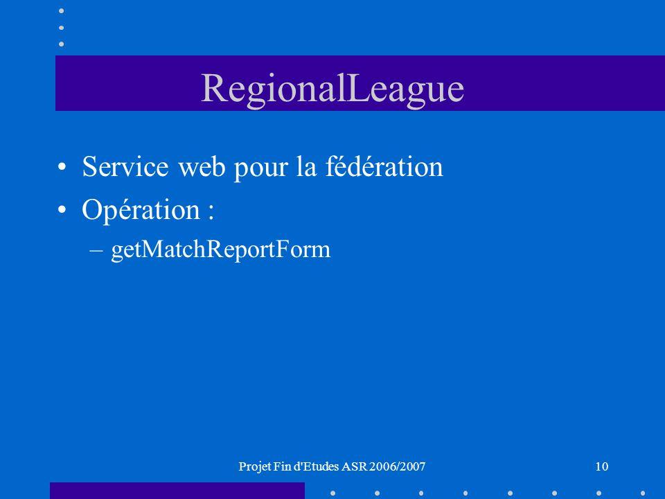 Projet Fin d Etudes ASR 2006/200710 RegionalLeague Service web pour la fédération Opération : –getMatchReportForm