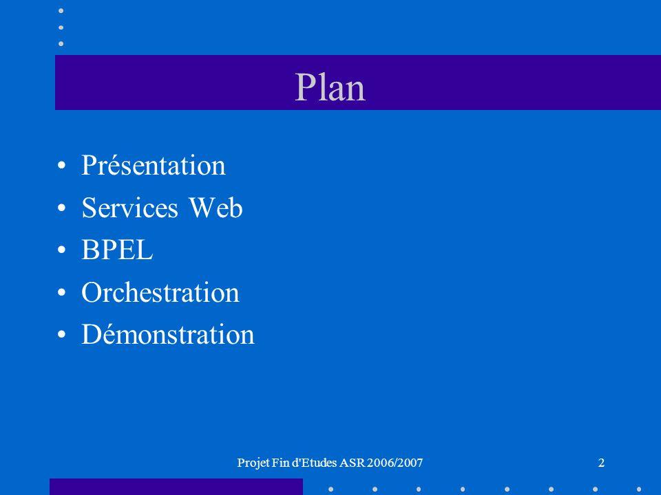 Projet Fin d Etudes ASR 2006/20072 Plan Présentation Services Web BPEL Orchestration Démonstration
