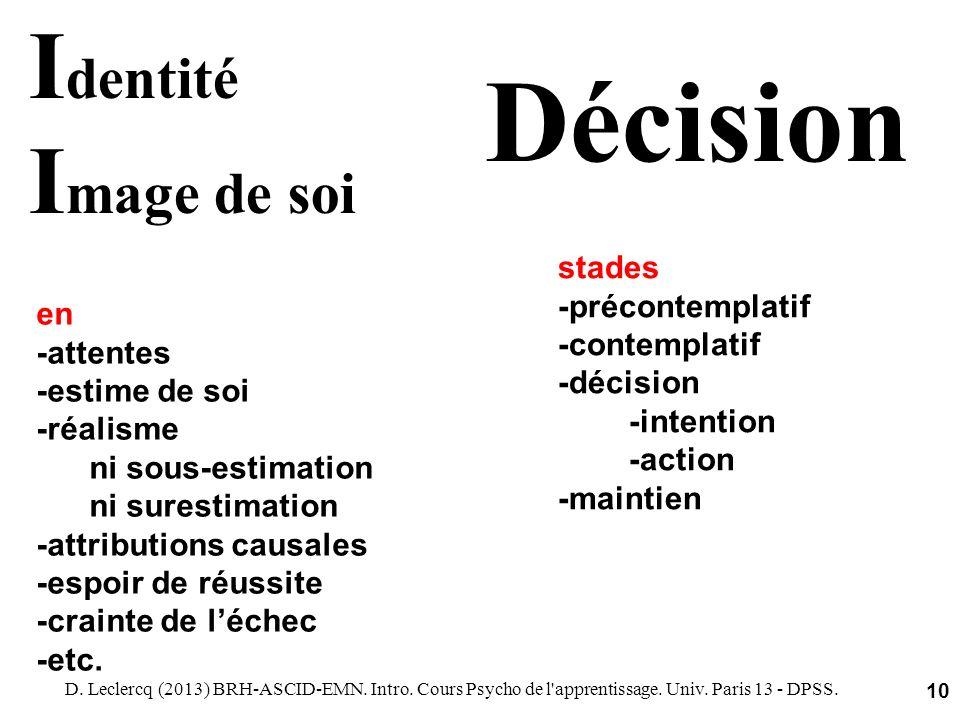 D. Leclercq (2013) BRH-ASCID-EMN. Intro. Cours Psycho de l'apprentissage. Univ. Paris 13 - DPSS. 10 I dentité I mage de soi en -attentes -estime de so
