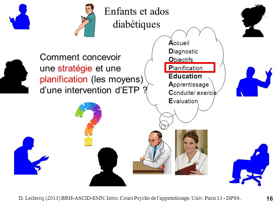D. Leclercq (2013) BRH-ASCID-EMN. Intro. Cours Psycho de l'apprentissage. Univ. Paris 13 - DPSS. 16 Comment concevoir une stratégie et une planificati