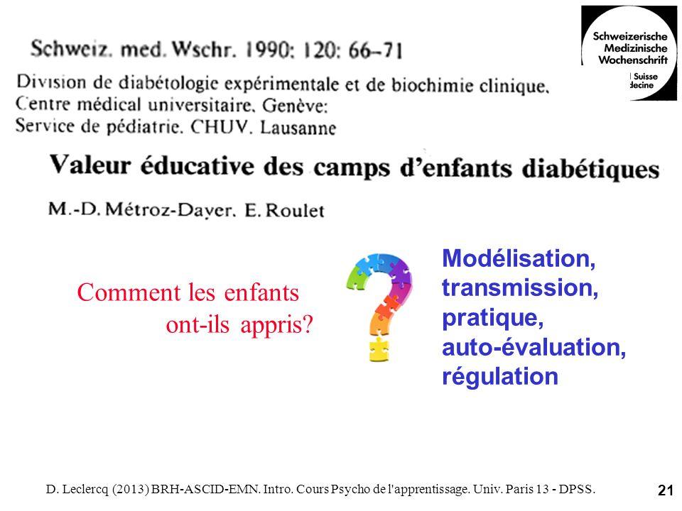 D. Leclercq (2013) BRH-ASCID-EMN. Intro. Cours Psycho de l'apprentissage. Univ. Paris 13 - DPSS. 21 Modélisation, transmission, pratique, auto-évaluat
