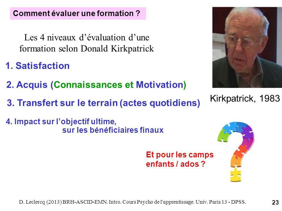 1. Satisfaction Kirkpatrick, 1983 Les 4 niveaux dévaluation dune formation selon Donald Kirkpatrick D. Leclercq (2013) BRH-ASCID-EMN. Intro. Cours Psy
