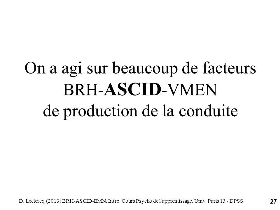 On a agi sur beaucoup de facteurs BRH- ASCID -VMEN de production de la conduite D. Leclercq (2013) BRH-ASCID-EMN. Intro. Cours Psycho de l'apprentissa