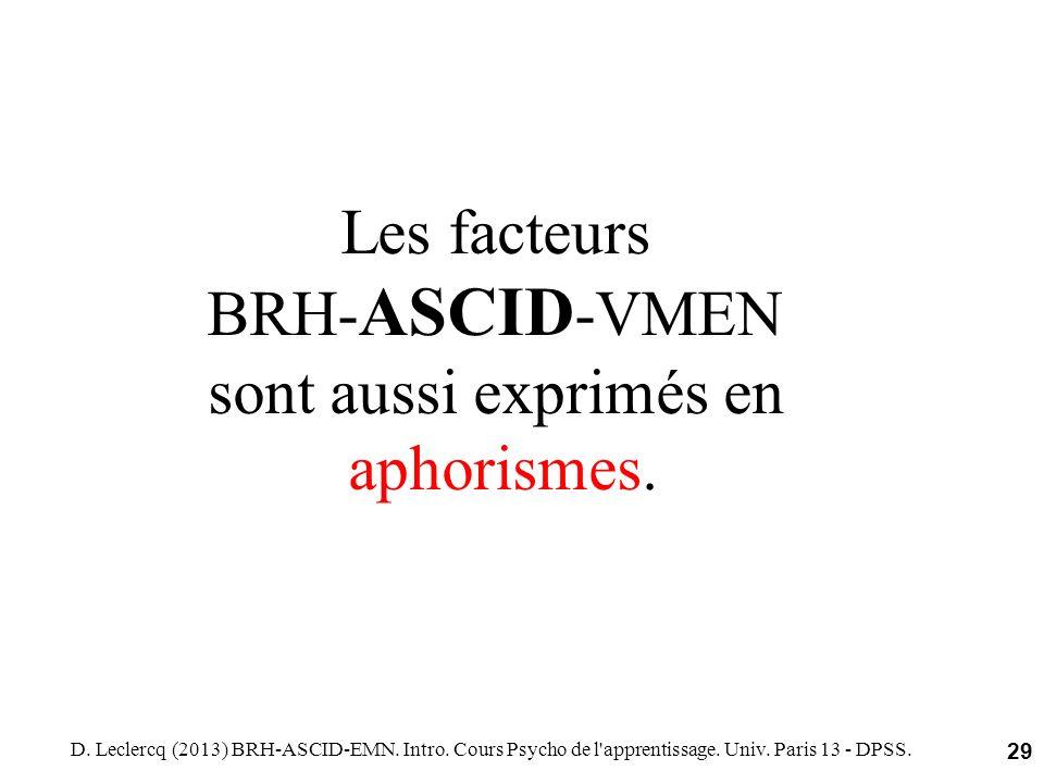 D. Leclercq (2013) BRH-ASCID-EMN. Intro. Cours Psycho de l'apprentissage. Univ. Paris 13 - DPSS. 29 Les facteurs BRH- ASCID -VMEN sont aussi exprimés