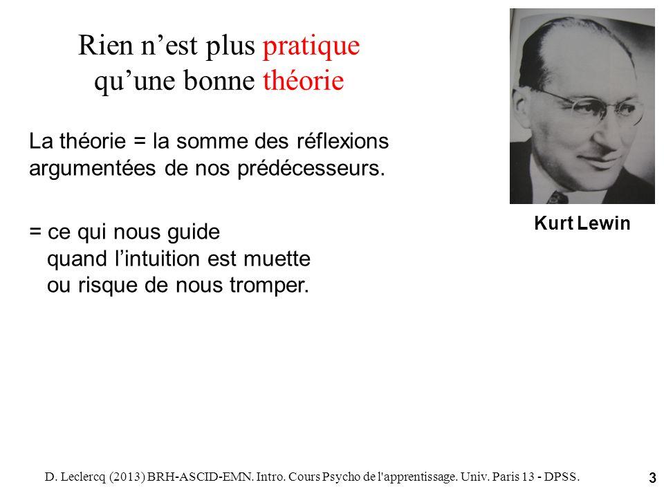 D. Leclercq (2013) BRH-ASCID-EMN. Intro. Cours Psycho de l'apprentissage. Univ. Paris 13 - DPSS. 3 Rien nest plus pratique quune bonne théorie Kurt Le