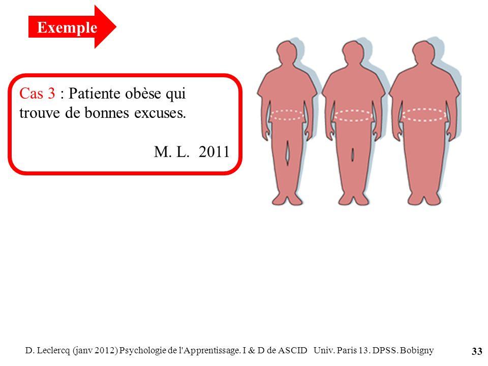 D. Leclercq (janv 2012) Psychologie de l'Apprentissage. I & D de ASCID Univ. Paris 13. DPSS. Bobigny 33 Cas 3 : Patiente obèse qui trouve de bonnes ex