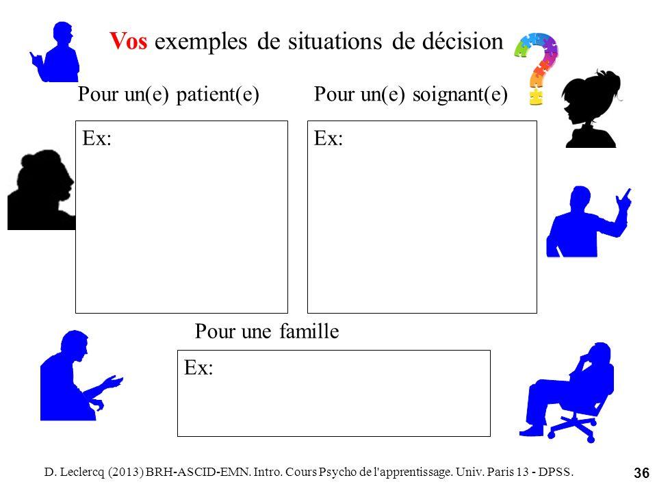 D. Leclercq (2013) BRH-ASCID-EMN. Intro. Cours Psycho de l'apprentissage. Univ. Paris 13 - DPSS. 36 Vos exemples de situations de décision Pour un(e)