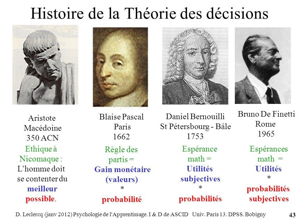 D. Leclercq (janv 2012) Psychologie de l'Apprentissage. I & D de ASCID Univ. Paris 13. DPSS. Bobigny 43 Histoire de la Théorie des décisions Aristote
