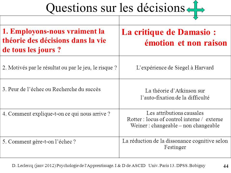 D. Leclercq (janv 2012) Psychologie de l'Apprentissage. I & D de ASCID Univ. Paris 13. DPSS. Bobigny 44 Questions sur les décisions 1. Employons-nous