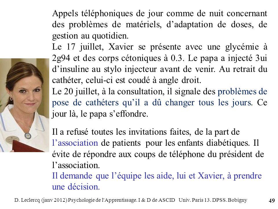 D. Leclercq (janv 2012) Psychologie de l'Apprentissage. I & D de ASCID Univ. Paris 13. DPSS. Bobigny 49 Appels téléphoniques de jour comme de nuit con