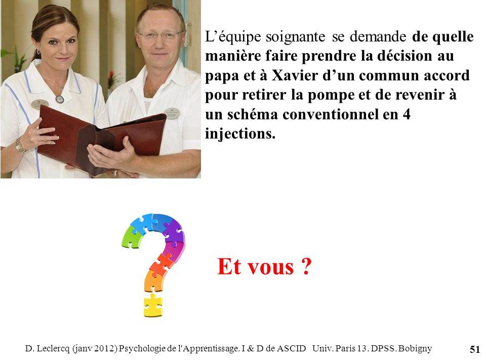 D. Leclercq (janv 2012) Psychologie de l'Apprentissage. I & D de ASCID Univ. Paris 13. DPSS. Bobigny 51 Léquipe soignante se demande de quelle manière