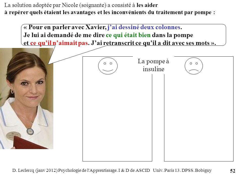 D. Leclercq (janv 2012) Psychologie de l'Apprentissage. I & D de ASCID Univ. Paris 13. DPSS. Bobigny 52 « Pour en parler avec Xavier, jai dessiné deux
