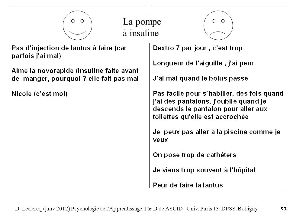 D. Leclercq (janv 2012) Psychologie de l'Apprentissage. I & D de ASCID Univ. Paris 13. DPSS. Bobigny 53 La pompe à insuline