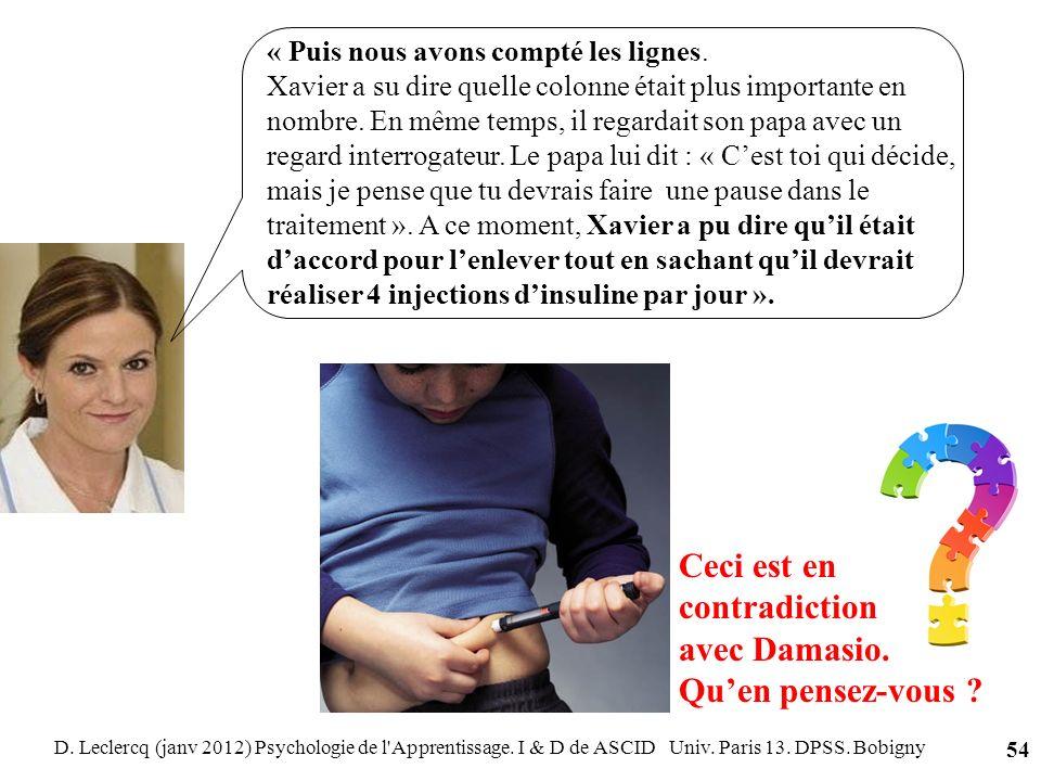 D. Leclercq (janv 2012) Psychologie de l'Apprentissage. I & D de ASCID Univ. Paris 13. DPSS. Bobigny 54 « Puis nous avons compté les lignes. Xavier a
