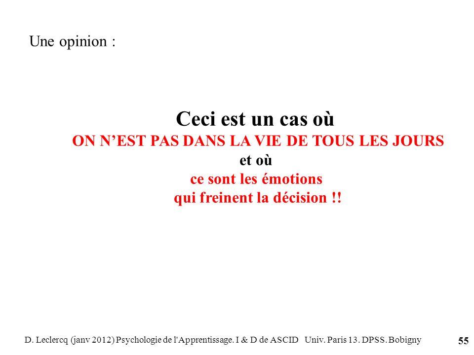 D. Leclercq (janv 2012) Psychologie de l'Apprentissage. I & D de ASCID Univ. Paris 13. DPSS. Bobigny 55 Ceci est un cas où ON NEST PAS DANS LA VIE DE
