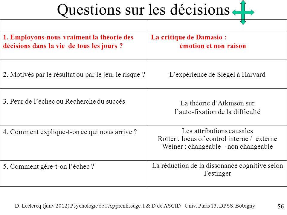 D. Leclercq (janv 2012) Psychologie de l'Apprentissage. I & D de ASCID Univ. Paris 13. DPSS. Bobigny 56 Questions sur les décisions 1. Employons-nous