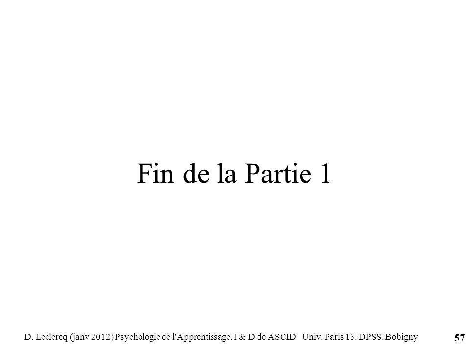 Fin de la Partie 1 D. Leclercq (janv 2012) Psychologie de l'Apprentissage. I & D de ASCID Univ. Paris 13. DPSS. Bobigny 57