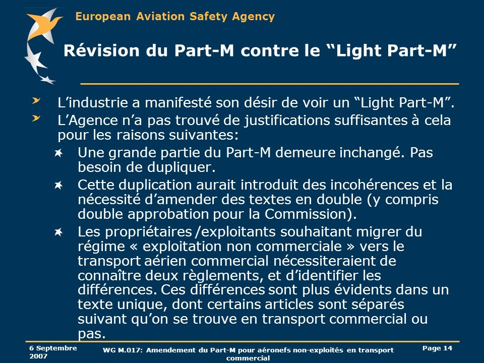 European Aviation Safety Agency 6 Septembre 2007 WG M.017: Amendement du Part-M pour aéronefs non-exploités en transport commercial Page 14 Révision d