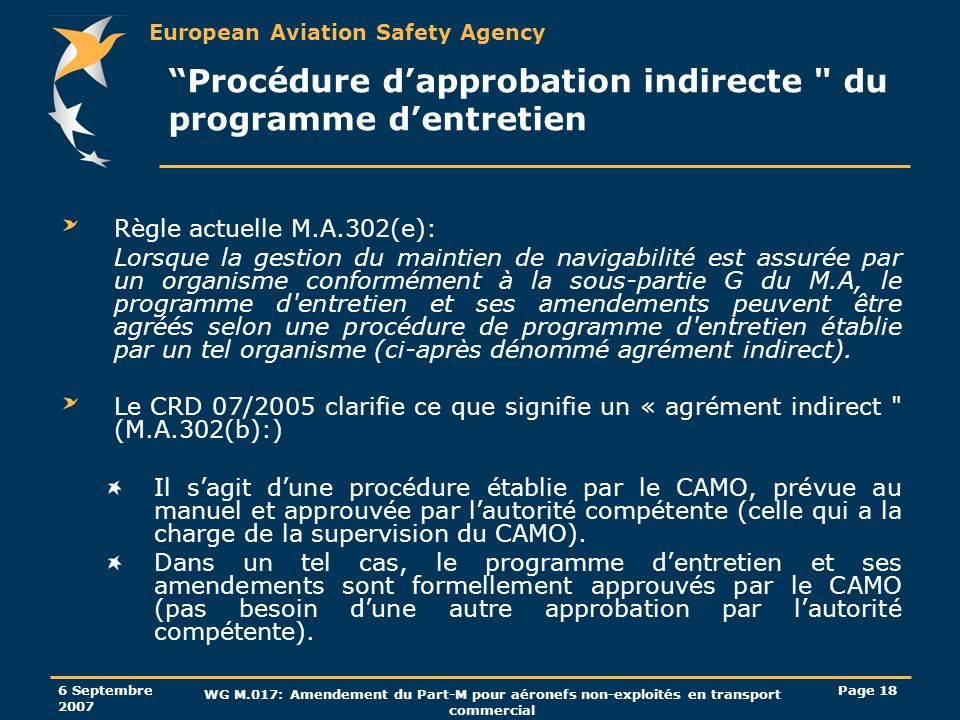 European Aviation Safety Agency 6 Septembre 2007 WG M.017: Amendement du Part-M pour aéronefs non-exploités en transport commercial Page 18 Procédure