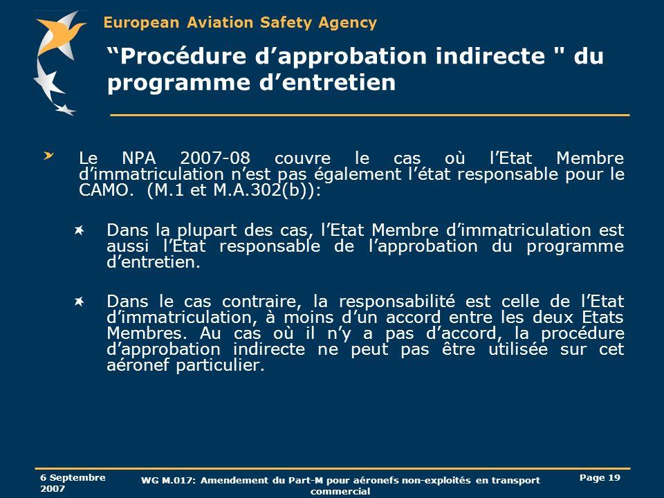 European Aviation Safety Agency 6 Septembre 2007 WG M.017: Amendement du Part-M pour aéronefs non-exploités en transport commercial Page 19 Procédure