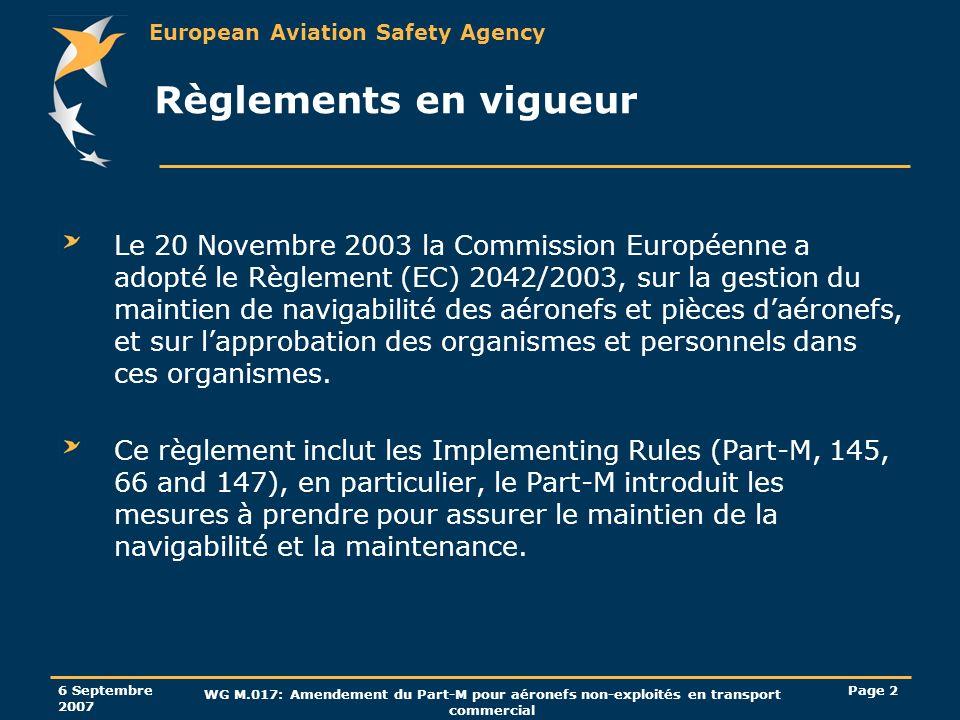 European Aviation Safety Agency 6 Septembre 2007 WG M.017: Amendement du Part-M pour aéronefs non-exploités en transport commercial Page 43 Privilèges du CAMO (suppression de la recommandation) M.A.711: Pour les aéronefs de 2730 Kg MTOM et moins, non exploités en transport commercial, le CRD 07/2005 a supprimé le concept de recommandation.