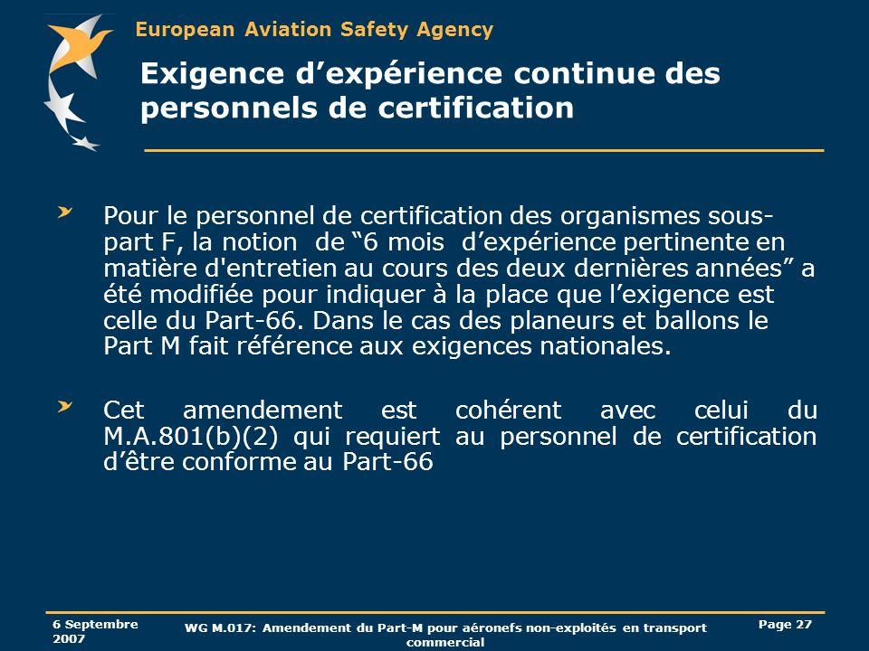 European Aviation Safety Agency 6 Septembre 2007 WG M.017: Amendement du Part-M pour aéronefs non-exploités en transport commercial Page 27 Exigence d