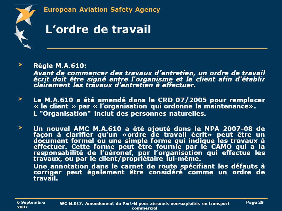 European Aviation Safety Agency 6 Septembre 2007 WG M.017: Amendement du Part-M pour aéronefs non-exploités en transport commercial Page 28 Lordre de