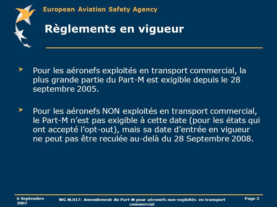 European Aviation Safety Agency 6 Septembre 2007 WG M.017: Amendement du Part-M pour aéronefs non-exploités en transport commercial Page 34 Exigences de qualification des personnels de revue de navigabilité dans les CAMOs Indépendance du processus de gestion du maintien de la navigabilité signifie: (AMC M.A.707(a)) Disposer de lautorisation deffectuer des revues de navigabilité seulement sur les aéronefs qui nont pas été gérés par cette personne; par exemple effectuer des revues de navigabilité sur une gamme spécifique de produits, et effectuer la gestion du maintien de navigabilité sur une autre gamme de produits.