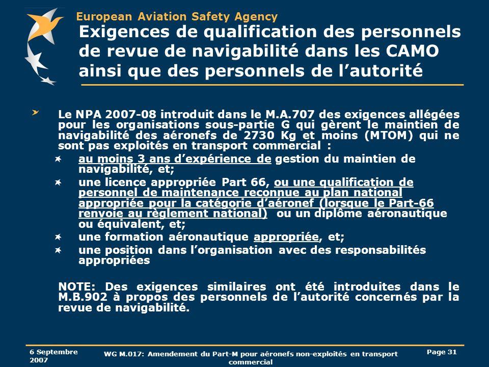 European Aviation Safety Agency 6 Septembre 2007 WG M.017: Amendement du Part-M pour aéronefs non-exploités en transport commercial Page 31 Exigences