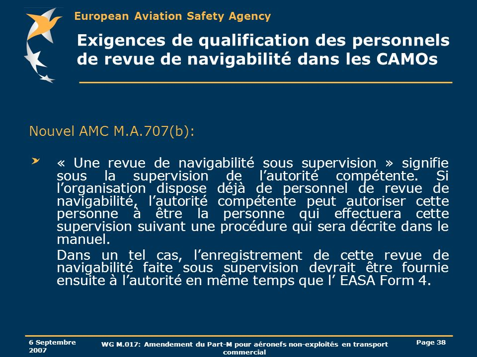 European Aviation Safety Agency 6 Septembre 2007 WG M.017: Amendement du Part-M pour aéronefs non-exploités en transport commercial Page 38 Exigences