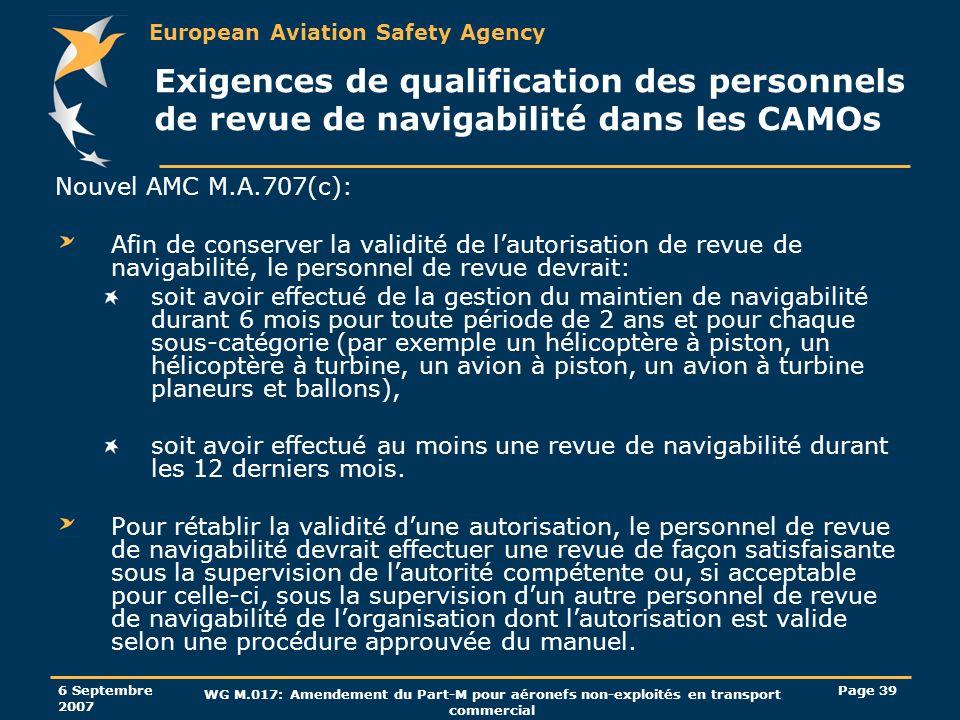 European Aviation Safety Agency 6 Septembre 2007 WG M.017: Amendement du Part-M pour aéronefs non-exploités en transport commercial Page 39 Exigences
