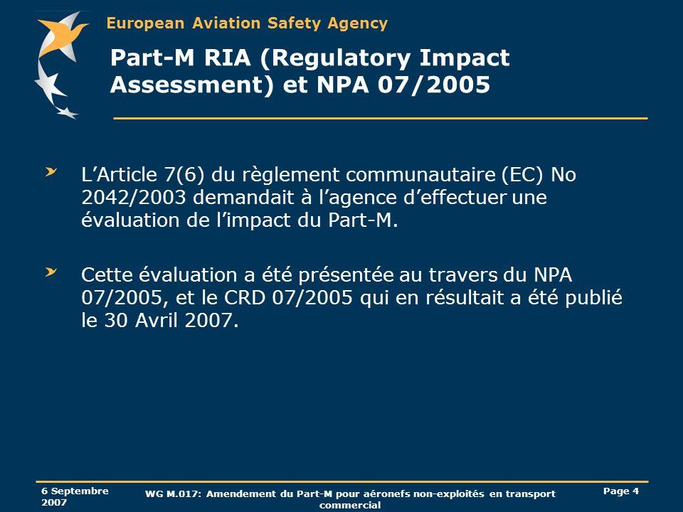 European Aviation Safety Agency 6 Septembre 2007 WG M.017: Amendement du Part-M pour aéronefs non-exploités en transport commercial Page 45 Système qualité AMC M.A.712(f): Le critère qui détermine quand une organisation est petite (et quelle est éligible à des bilans organisationnels) ne tient plus compte du critère « gère le maintien de navigabilité de moins de 10 petits aéronefs » mais celui de « compte jusquà 5 personnes dans lorganisation » (incluant les personnels de gestion et de revue de navigabilité).